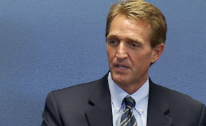 U.S. Sen. Jeff Flake at the Tucson City Hall during a visit August 2014.