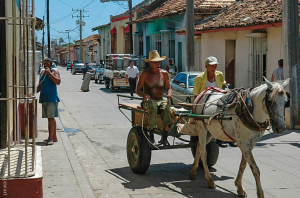 Here's a REALLY old-fashioned vehicle. Ahh, Cuba…
