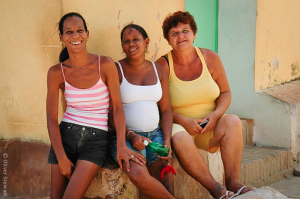Lovely local ladies smiling in Trinidad, Cuba.