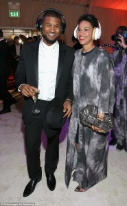 Off the market: Usher has tied the knot with his longtime girlfriend Grace Miguel, according to UsWeekly; here they are seen at the HEAVEN Gala presented by Art of Elysium and Samsung Galaxy at Hangar 8 in LA in January