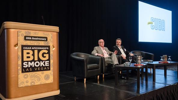 Photo/Camilla Sjodin.  Senior contributing editor Gordon Mott (left) and executive editor David Savona took to the stage for a discussion concerning the current state of Cuban affairs.