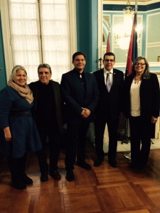 Meeting at the Embassy of the Republic of Cuba, Washington, DC, December 2, 2015. Pictured are (from left)Katsi Cook, NoVo Foundation; Jose Barreiro, Smithsonian Institution; Eric Thompson, SRMT Chief; José R. Cabañas, Cuban Ambassador to U.S.; and Beverly Cook, SRMT Chief.